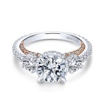 18k White/Rose Gold Round 3 Stones Halo Diamond Engagement Ring