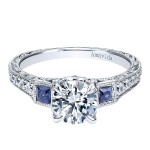 Vintage Platinum Round 3 Stones Diamond A Quality Sapphire Engagement Ring