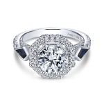 Vintage 18k White Gold Round 3 Stones Halo Diamond A Quality Sapphire Engagement Ring