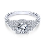 Vintage Platinum Round Halo Diamond Engagement Ring