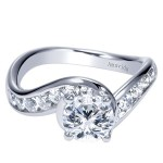 18k White Gold Round Bypass Diamond Engagement Ring
