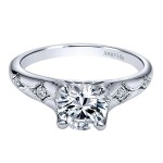 Vintage 18k White Gold Round Straight Diamond Engagement Ring