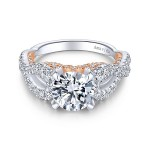 18k White/Rose Gold Round Twisted Diamond Engagement Ring