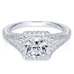 18k White Gold Princess Cut Halo Diamond Engagement Ring