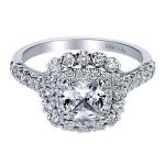 18k White Gold Amavida Cushion Cut Double Halo Diamond Engagement Ring