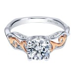 18k White/Rose Gold Round Twisted Engagement Ring