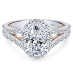 18k White/Rose Gold Oval Halo Diamond Engagement Ring