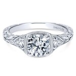 Vintage Platinum Round 3 Stones Diamond Engagement Ring