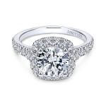 18k White Gold Round Amavida Halo Diamond Engagement Ring