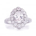 Bridal Rings Company Oval Diamond Halo Engagement Ring in 18k White Gold