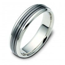 TITANIUM & 14 KARAT WHITE GOLD GENTS BAND