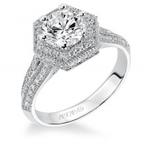 """Meredith"" Diamond Halo Engagement Ring"