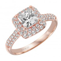 """Betsy"" Diamond Halo Engagement Ring in Rose Gold"