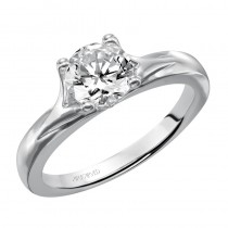 Monica' Solitaire Diamond Engagement Ring With Polished Band  - 31-V405ERW