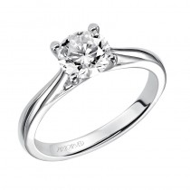 Lindsey' Solitaire Diamond Engagement Ring With Polished Band  - 31-V407ERW