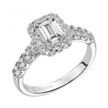 Gabby' Emerald Cut Diamond Halo Engagement Ring  - 31-V441EEW