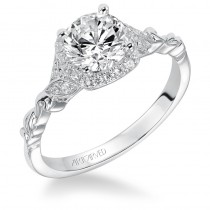 """Yvette"" Diamond Prong Set Halo Engagement Ring"