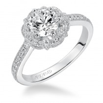 """Lanice"" Halo Prong Set Diamond Engagement Ring"