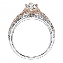 """Dorsey"" Two Tone Double Halo Engagement Ring"
