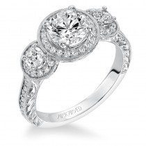 """Ophelia"" Vintage Inspired Diamond Halo Engagement Ring"