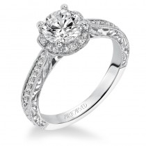 """""""Althea"""" Vintage Inspired Diamond Floral Halo Engagement Ring"""