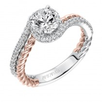 """Nina"" Contemporary Two Tone Halo Bypass Diamond Engagement Ring in White Gold"