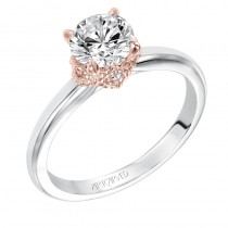 """Clarice"" Modern Classic Two-Tone Solitaire Diamond Engagement Ring in Rose Gold"