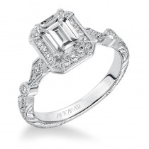 Georgina' Halo Hand Engraved Diamond Engagement Ring - 31-V634EEW-E.00