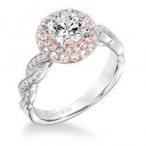 """Anja"" Contemporary Diamond Twisted Halo Engagement Ring"
