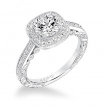 """Elspeth"" Vintage Halo Diamond Engagement Ring"