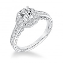 """Perla"" Vintage Halo Diamond Engagement Ring"