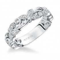 Diamond Anniversary Band with Leaf and scroll accents with Milgrain - 33-V9138W