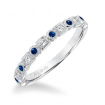 ArtCarved Diamond Stackable Band Bezel set with Blue Sapphires in 14K White Gold