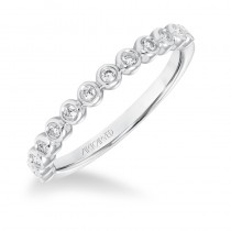 ArtCarved Stackable Band with Bezel set Diamonds in 14K White Gold - 33-V9159W
