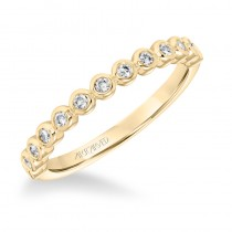 ArtCarved Stackable Band with Bezel set Diamonds in 14K Yellow Gold  - 33-V9159Y