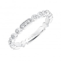 ArtCarved Vintage Diamond Prong Set Band with Milgrain in 14K White Gold  - 33-V9184W