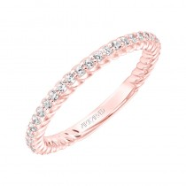 ArtCarved Contemporary Diamond and Rope Band in 14K Rose Gold  - 33-V9188R