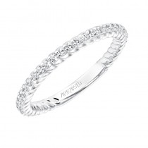 ArtCarved Contemporary Diamond and Rope Band in 14K White Gold  - 33-V9188W