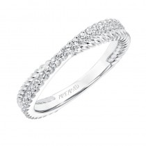 ArtCarved Contemporary Twisted Diamond and Rope Band in White Gold  - 33-V9189W