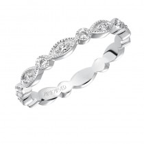 ArtCarved Prong Set with Milgrain Eternity Band in 14K White Gold  - 33-V94A4W65