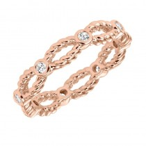 Artcarved 14k Rose Gold Rope Detail Diamond Band