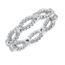 Artcarved 14k White Gold Rope Detail Diamond Band