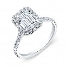 Custom Made 18K White Gold Halo Style Wedding Ring