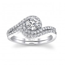 White gold diamond engagement ring set - 7597SW
