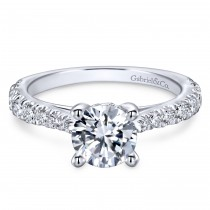 14k White Gold Solitaire Victorian Engagement Ring