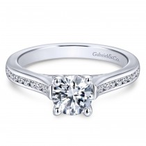 14k White Gold Petite Contemporary Engagement Ring