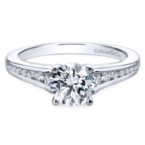 14k White Gold Contemporary Channel Set Engagement Ring