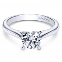 14k White Gold Solitaire Contemporary Engagement Ring
