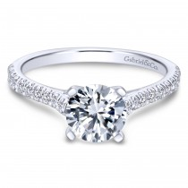 14k White Gold Round-Cut Contemporary Engagement Ring