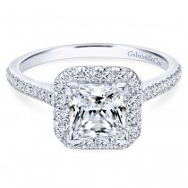 14k White Gold Contemporary Princess Cut Engagement Ring
